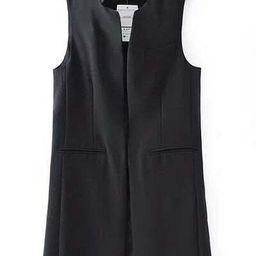 Black Stand Collar Sleeveless Split Back Vest   SHEIN