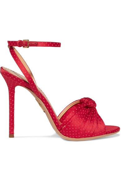 Charlotte Olympia - Broadway Polka Dot-embroidered Satin Sandals - IT35