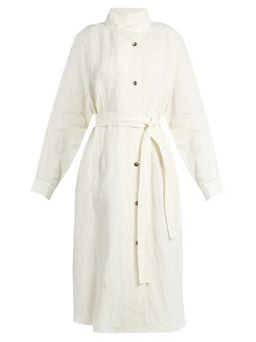 Stand-collar linen trench coat   J.W.Anderson