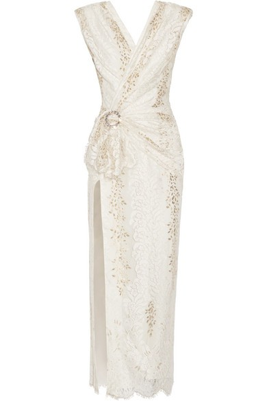 Wrap-effect crystal-embellished metallic lace gown