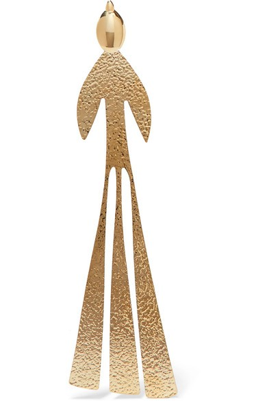 Hammered gold-plated earring