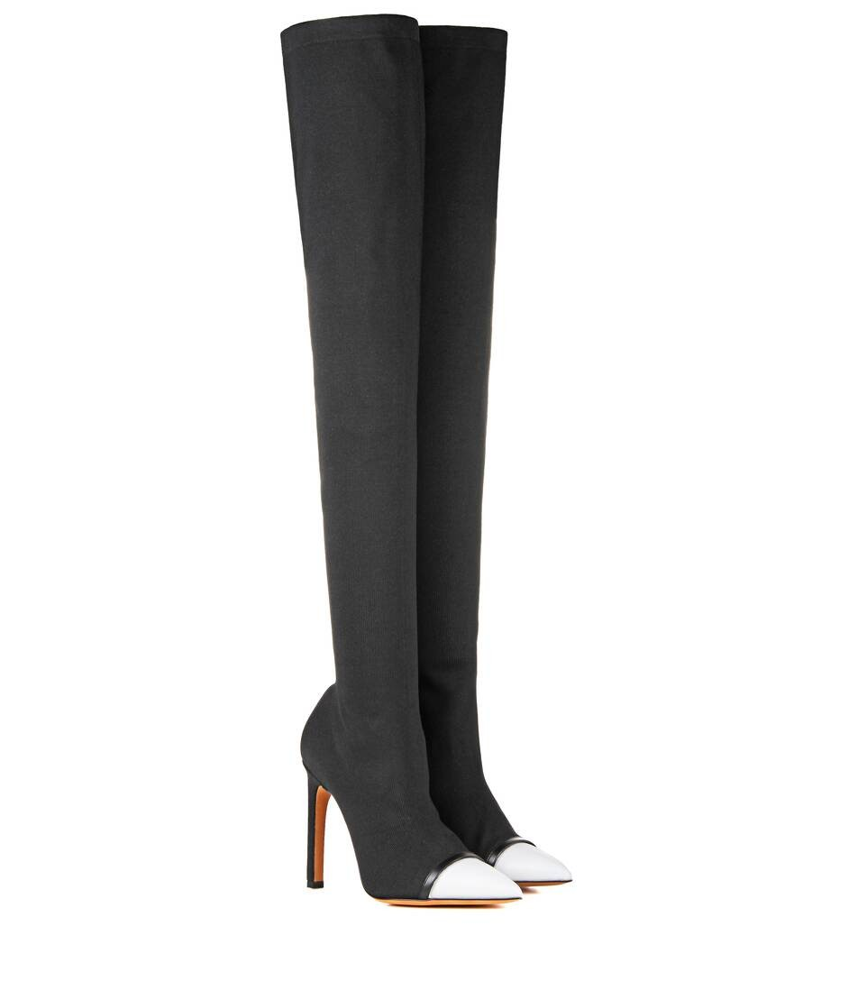 Graphic stretch-jersey over-the-knee boots