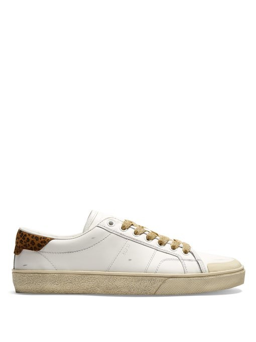 Court Classic distressed leather trainers | Saint Laurent