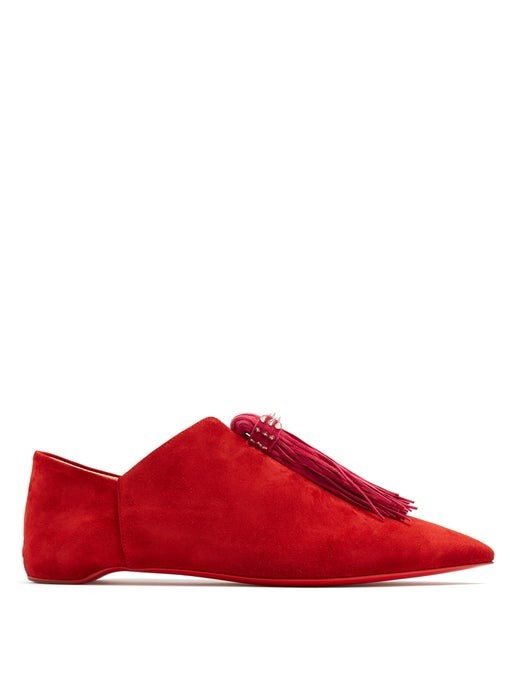 Mediana suede backless slipper shoes | Christian Louboutin