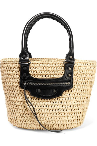 Panier leather-trimmed woven raffia tote