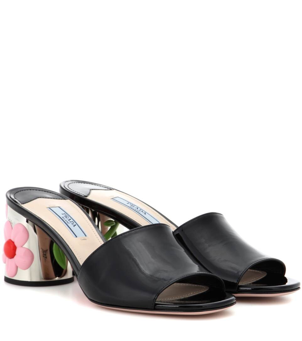 Patent leather slip-on pumps