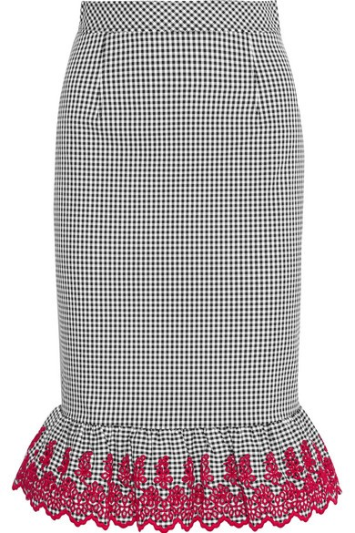Benson broderie anglaise-trimmed gingham stretch-cotton skirt