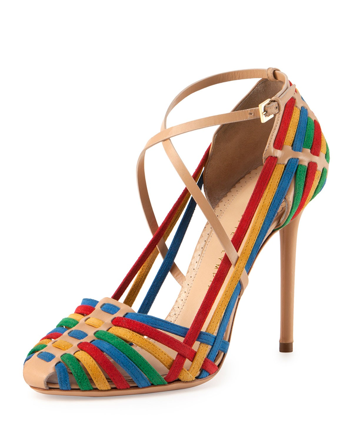 Mariachi Woven Suede Crisscross Pump - Charlotte Olympia - Multi colors (35.0B/5.0B)