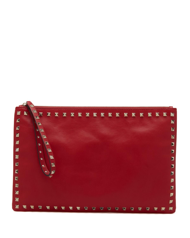 Rockstud Zip Clutch, Red - Valentino
