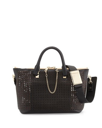 Baylee Perforated Medium Shoulder Bag, Black - Chloe