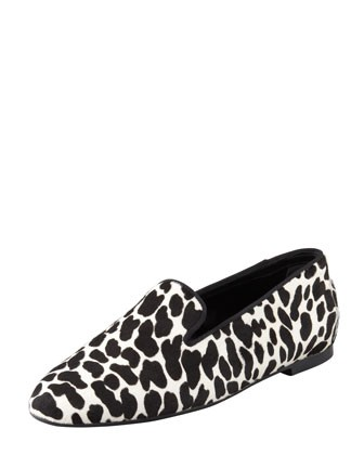Tods Animal-Print Calf Hair Smoking Slipper