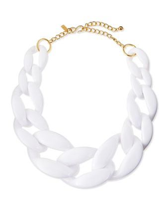 Enamel Link Necklace, White - Kenneth Jay Lane