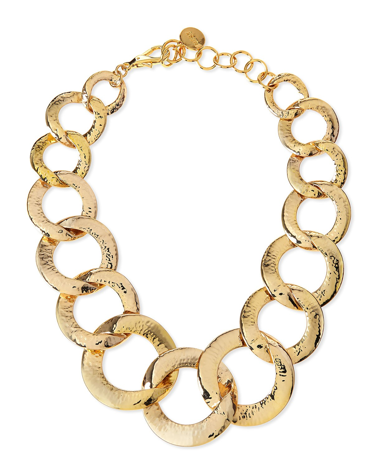 Hammered Gold-Plated Chain Link Necklace - Nest - Gold