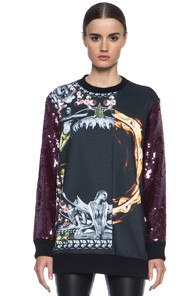 GIVENCHY Sequin Orgy vs. Flame Sweatshirt in Black,Floral