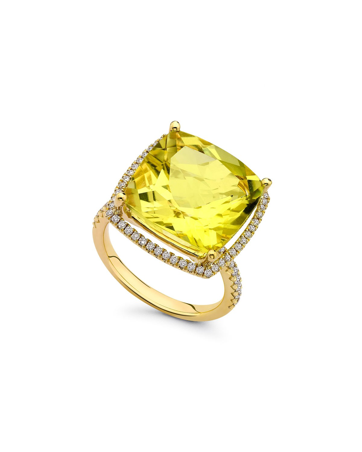 Grace Lemon Quartz & Diamond 18k Gold Ring - Kiki McDonough - Gold (6 1/4)
