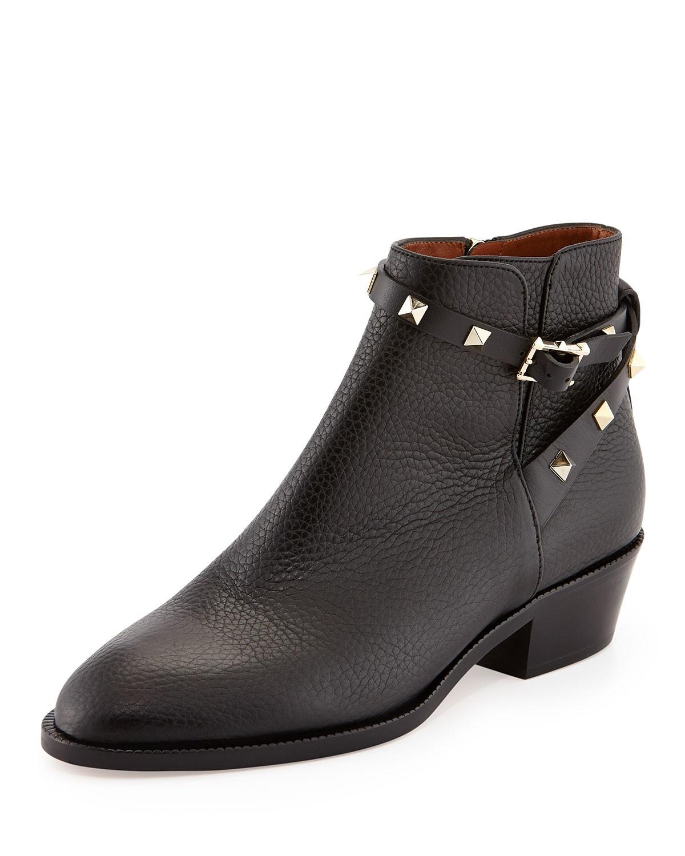 Rockstud Strappy Ankle Bootie, Black - Valentino