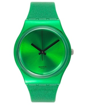 Swatch Watch, Unisex Swiss Deep Shine Green Glitter Green Silicone Strap 34mm GG213