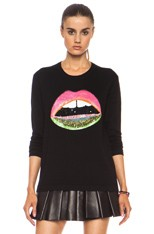 Neon Dip Lara Lip Knit Jumper in Black