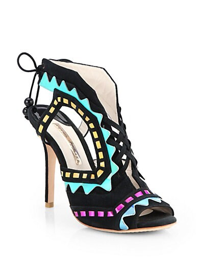 Riko Colorblock Suede & Metallic Leather Lace-Up Sandals