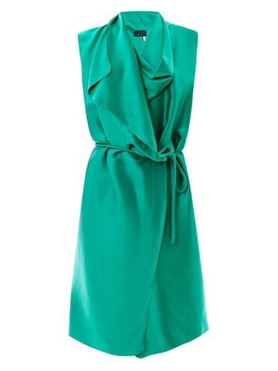Draped satin wrap dress