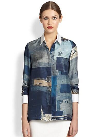 Chika Boro Print Silk Shirt