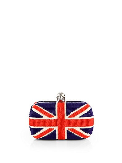 Beaded Union Jack Skull Clutch