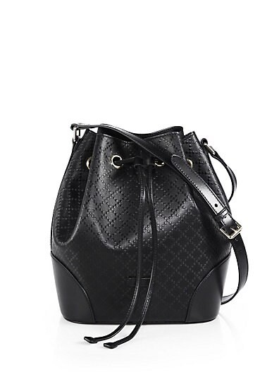Bright Diamante Leather Bucket Bag