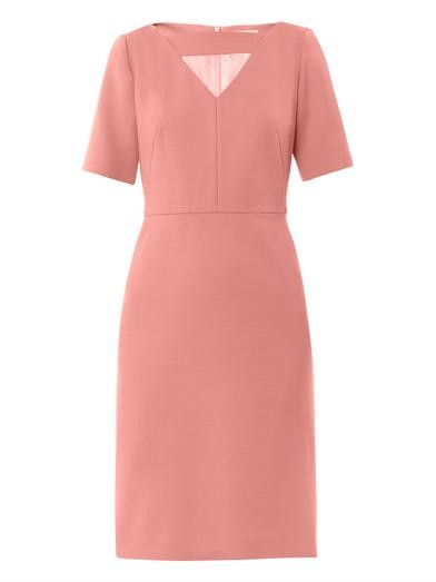 V-neck wool-blend dress