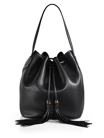 Lady Tassel Leather Bucket Bag
