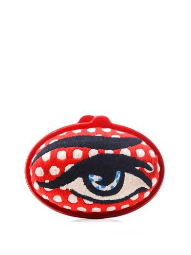 Eggzy eye embroidered clutch