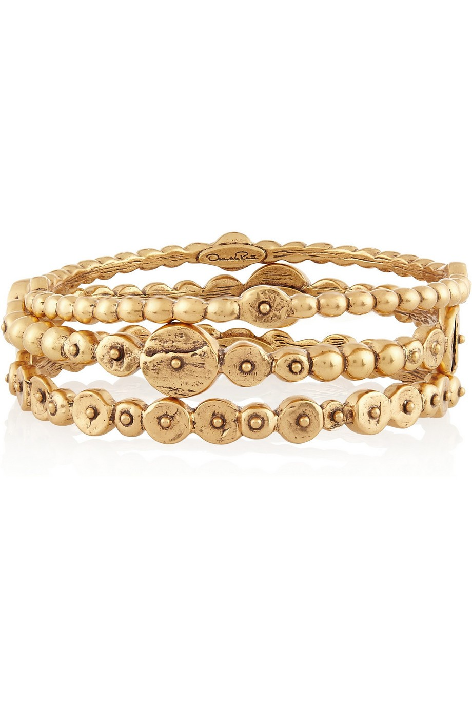 Set of three gold-tone bracelets