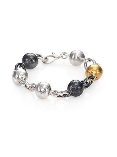 24K Yellow Gold & Sterling Silver Ball Link Bracelet