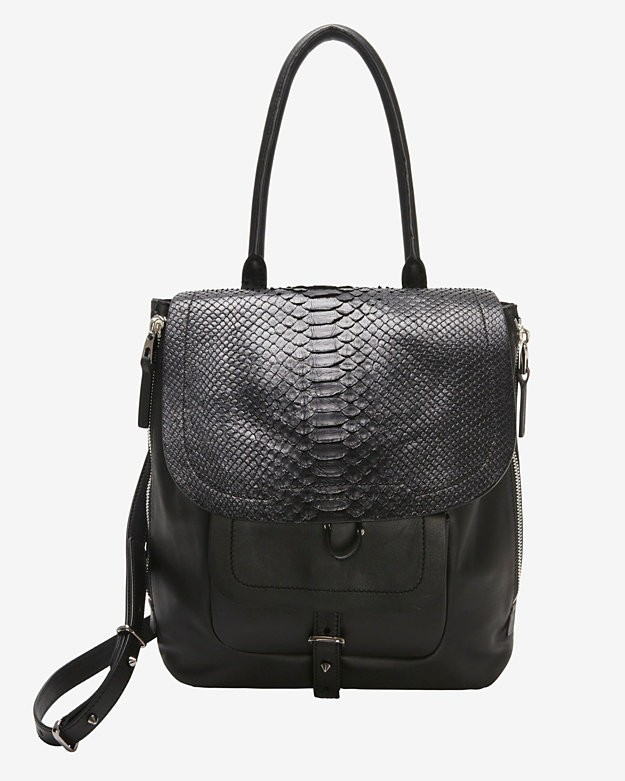 Exclusive 		 	Barbara Bui EXCLUSIVE Python Flap Shoulder Bag: Black