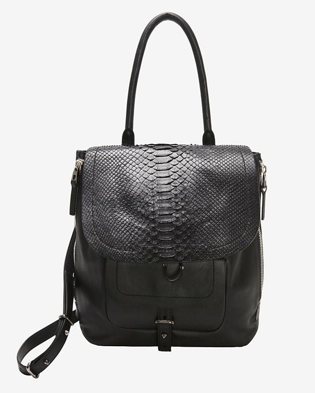 Exclusive  Barbara Bui EXCLUSIVE Python Flap Shoulder Bag: Black