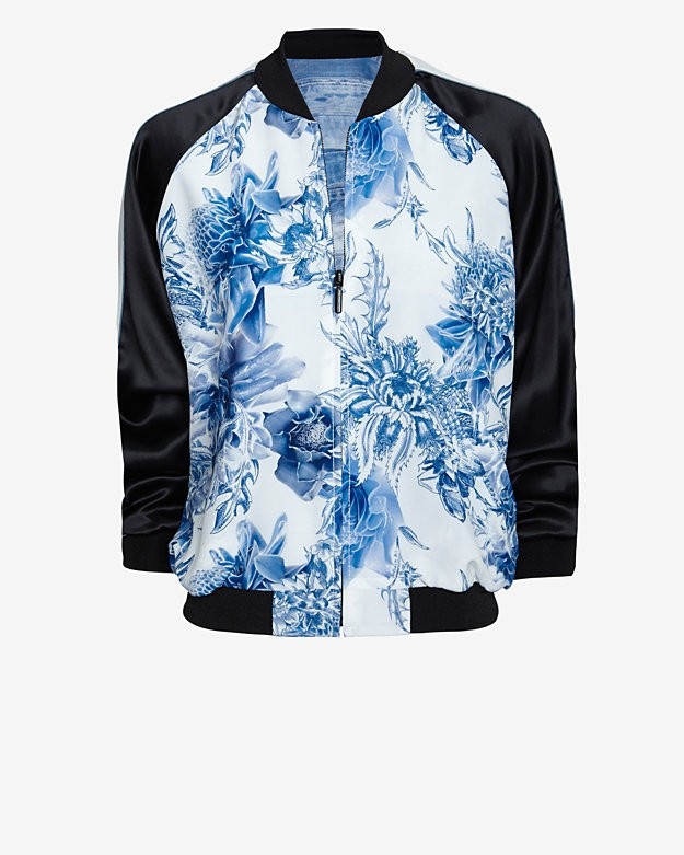 Barbara Bui Reversible Silk Print Bomber Jacket