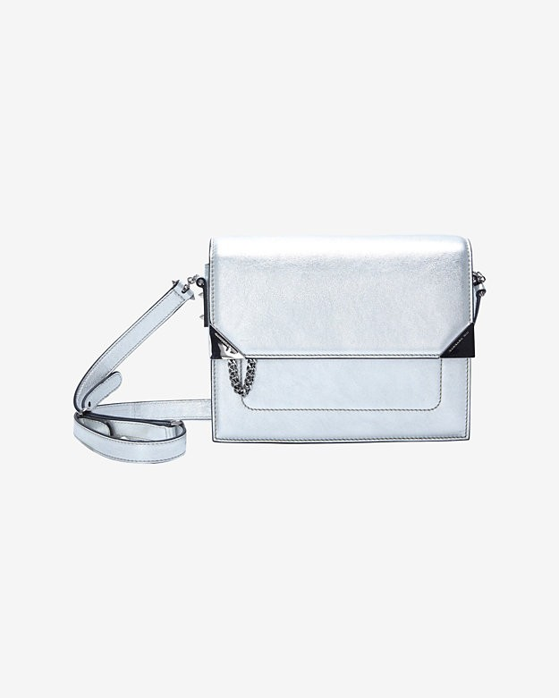 Barbara Bui Flap Box Bag: Silver