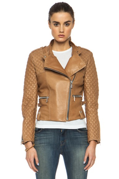Quilted Lambskin Moto Jacket in Tan