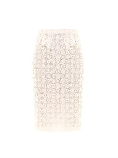 Lace peplum pencil skirt