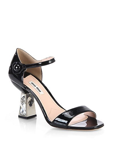 Patent Leather Jeweled-Heel Sandals
