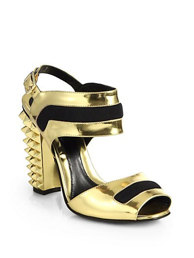 Polifonia Metallic Leather Studded-Heel Sandals