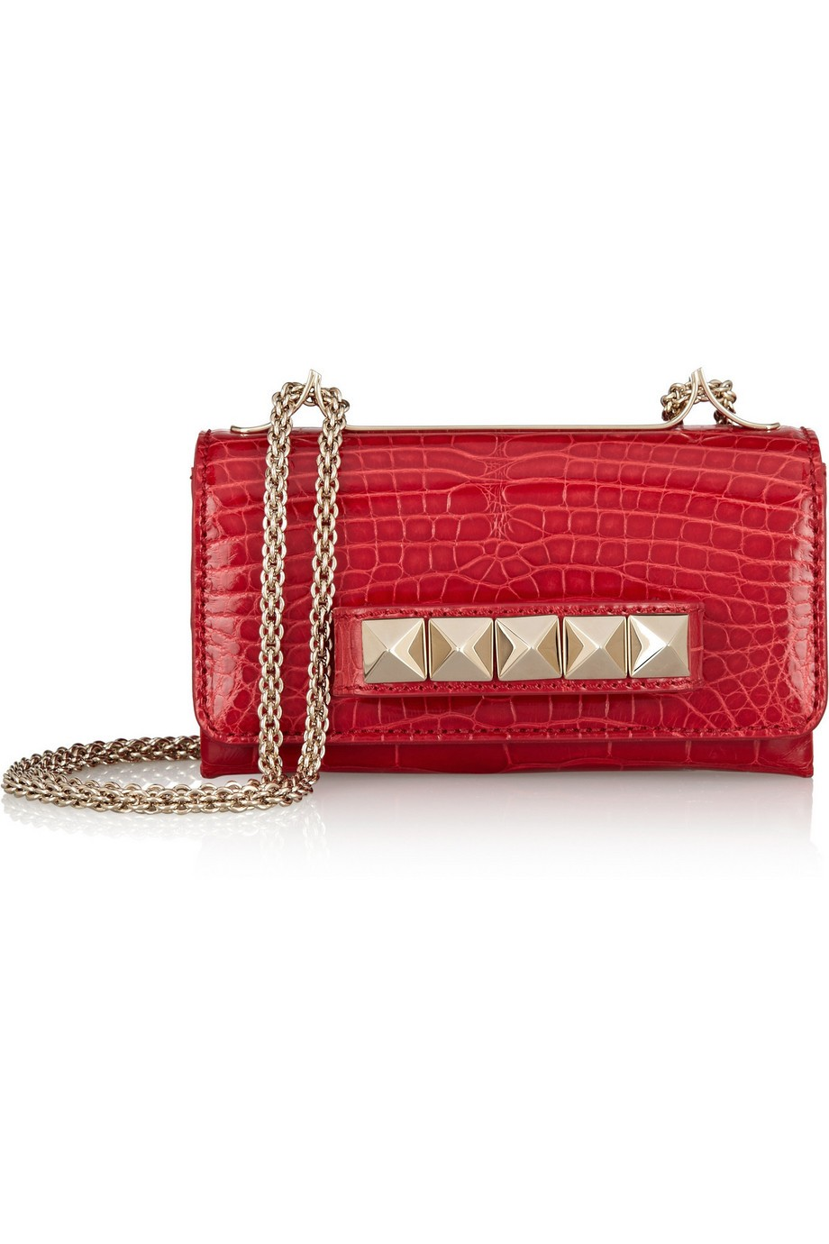 Va Va Voom glossed-alligator shoulder bag