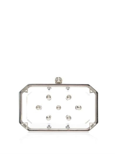 Studded Perspex skull box clutch