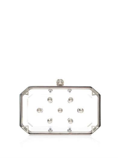 Studded Perspex skull box clutch