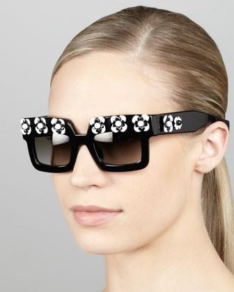 Flower Square Sunglasses, Black/White