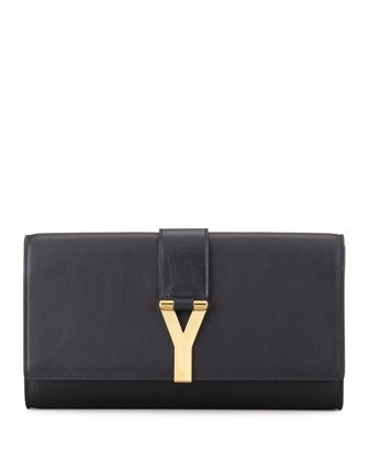 Y Ligne Clutch Bag, Black