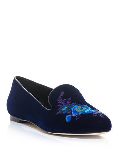 Floral embroidered velvet slippers