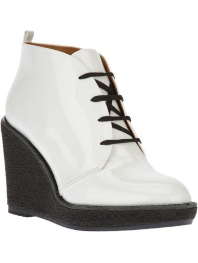 lace-up wedge patent ankle boot
