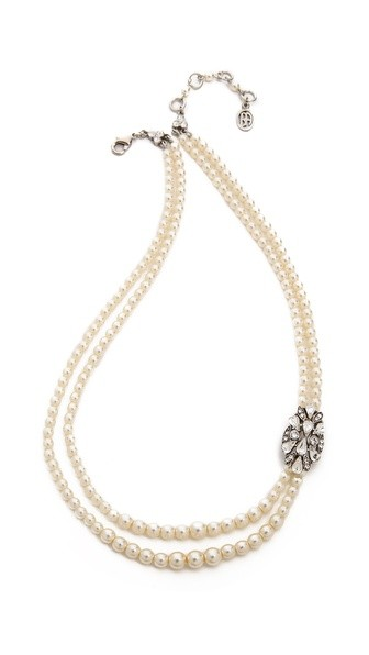 Imitation Pearl and Crystal Necklace