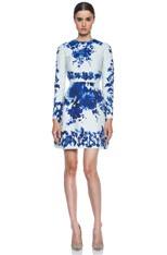Flare Skirt Silk-Blend Dress in Blue Multi