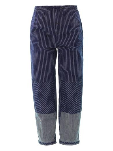 Stripe high-rise boyfriend jeans